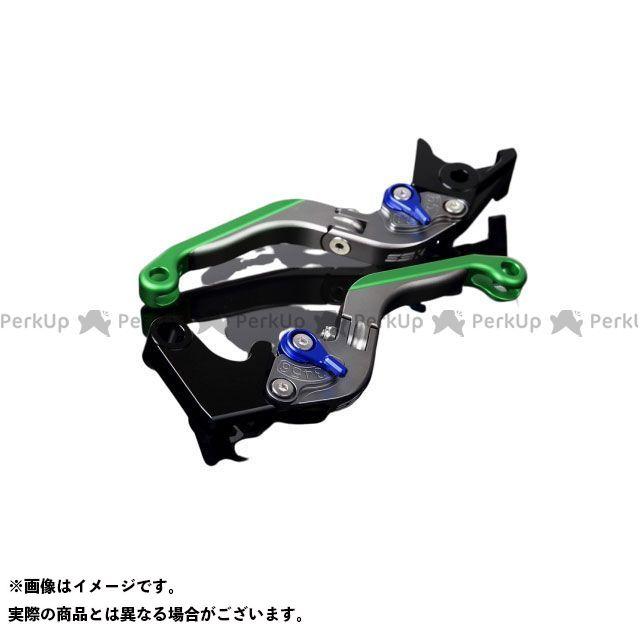 SSK GSX-R1000 GSX-R600 GSX-R750 アルミビレットアジャストレバーセット 可倒延長式(レバー本体:マットチタン) アジャスター:マットブルー エクステンション:マットグリーン エスエスケー