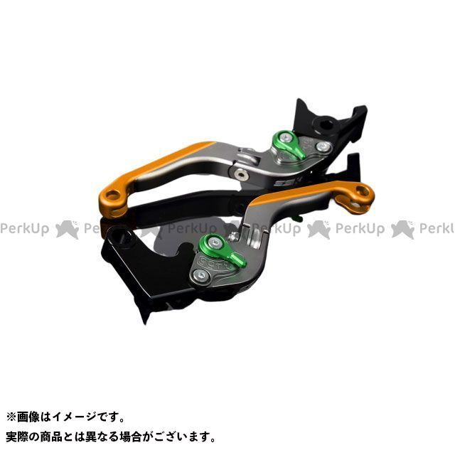SSK ハイパーモタード1100 ハイパーモタード1100S アルミビレットアジャストレバーセット 可倒延長式(レバー本体:マットチタン) マットグリーン マットゴールド エスエスケー