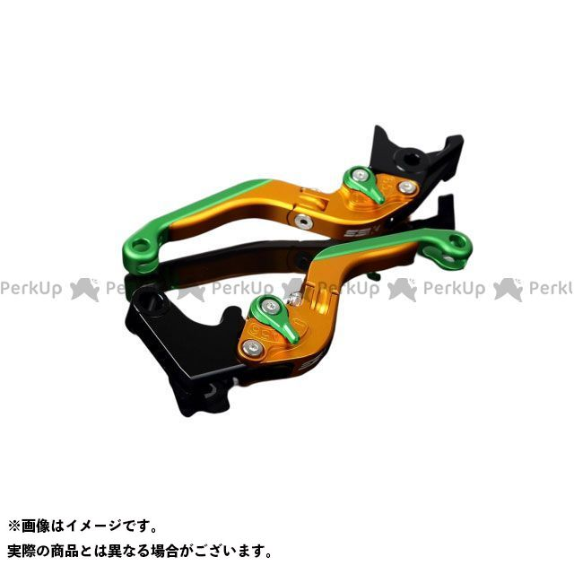 SSK S1000R S1000RR アルミビレットアジャストレバーセット 可倒延長式(レバー本体:マットゴールド) アジャスター:マットグリーン エクステンション:マットグリーン エスエスケー