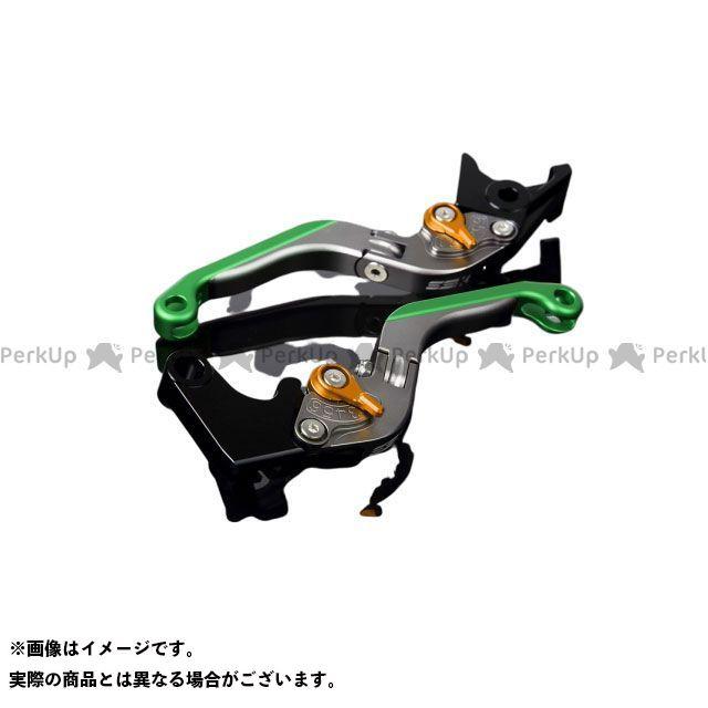 SSK RSV4ファクトリー RSV4 R アルミビレットアジャストレバーセット 可倒延長式(レバー本体:マットチタン) アジャスター:マットゴールド エクステンション:マットグリーン エスエスケー