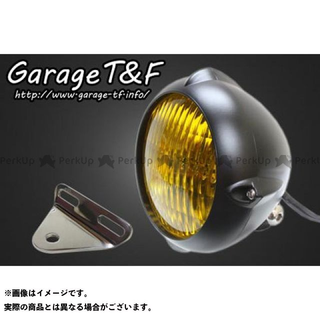 ガレージT&F ドラッグスター400(DS4) 4.5インチビンテージライト(ブラック)&ライトステー(タイプA)キット ガレージティーアンドエフ