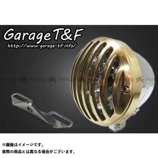 ガレージTF ガレージティーアンドエフ ヘッドライト・バルブ 電装品 ガレージTF ドラッグスタークラシック400(DSC4) 4.5インチバードゲージヘッドライト&ライトステー(タイプB)キット メッキ 真鍮 ガレージティーアンドエフ