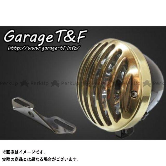ガレージTF ガレージティーアンドエフ ヘッドライト・バルブ 電装品 ガレージTF ドラッグスタークラシック400(DSC4) 4.5インチバードゲージヘッドライト&ライトステー(タイプB)キット ブラック 真鍮 ガレージティーアンドエフ
