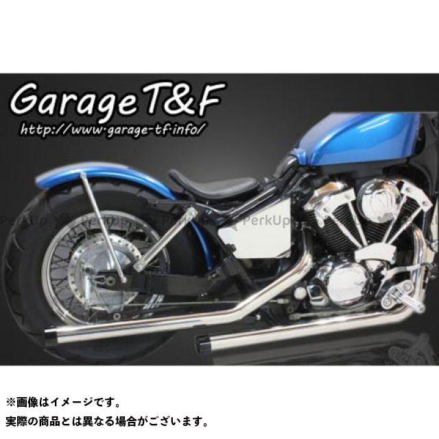 ガレージT&F シャドウ400 ドラッグパイプマフラー マフラーエンド付き カラー:ステンレス エンド:アルミ/ブラック ガレージティーアンドエフ