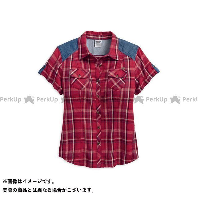 ハーレーダビッドソン LD'S Denim Accent Plaid Shirt XS HARLEY-DAVIDSON