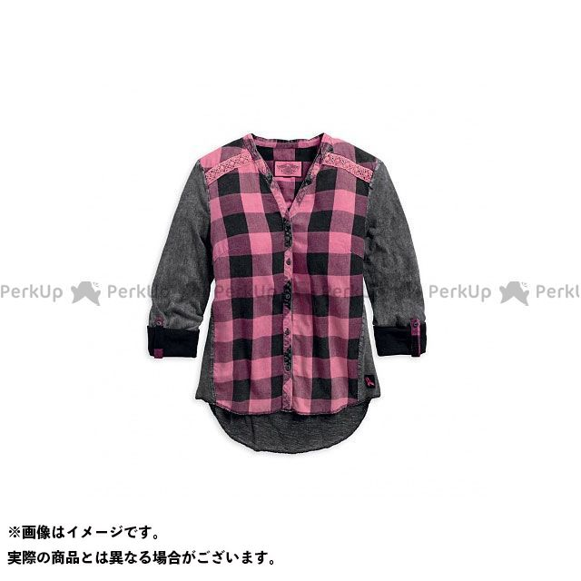 ハーレーダビッドソン LD'S Pink Label Buffalo Plaid Shirt XS HARLEY-DAVIDSON