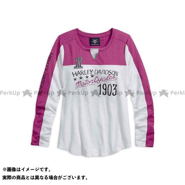 ハーレーダビッドソン レディース Tシャツ3/4SLV/ColorblockSlub NotchNeckTop S HARLEY-DAVIDSON