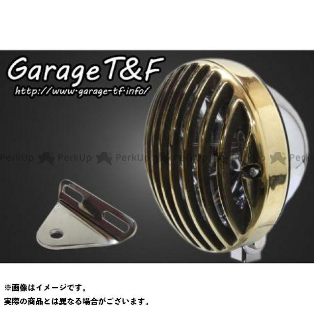 ガレージT&F シャドウスラッシャー 5.75インチバードゲージヘッドライト&ライトステー(タイプA)キット ヘッドライト:メッキ ゲージ:真鍮 ガレージティーアンドエフ