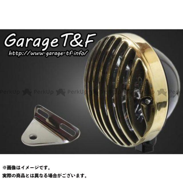 ガレージT&F シャドウスラッシャー 5.75インチバードゲージヘッドライト&ライトステー(タイプA)キット ヘッドライト:ブラック ゲージ:真鍮 ガレージティーアンドエフ