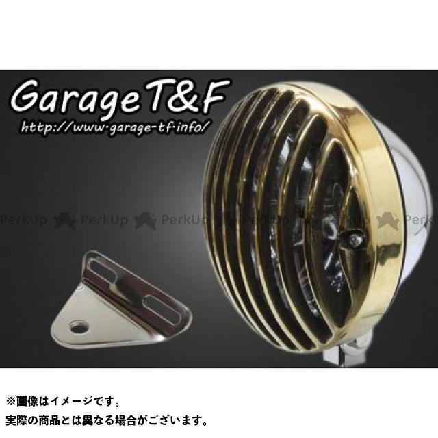 ガレージT&F バルカン400 バルカン400-2 5.75インチバードゲージヘッドライト&ライトステー(タイプA)キット ヘッドライト:メッキ ゲージ:真鍮 ガレージティーアンドエフ