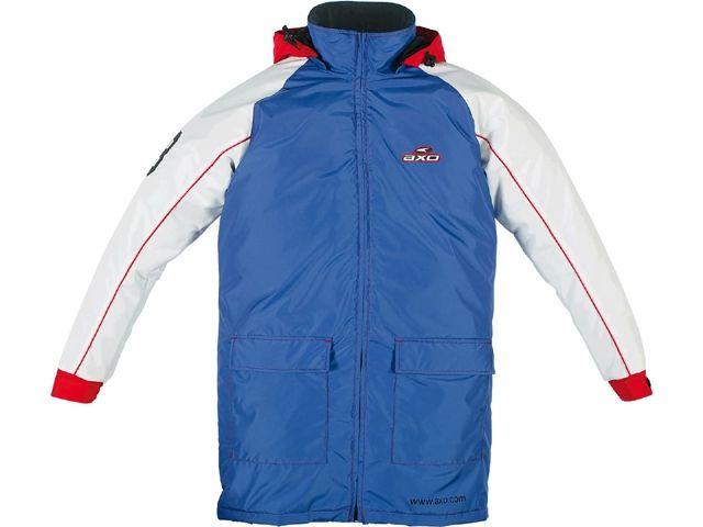 送料無料 AXO アクソー 電熱ウェア・防寒用品 パドックコート「PADDOCK」 ブルー/ホワイト XL/2XL