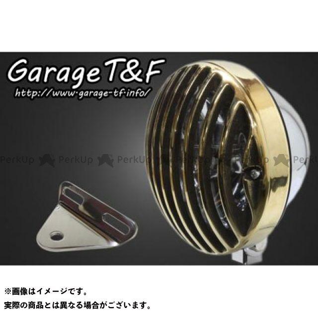 ガレージT&F ビラーゴ250(XV250ビラーゴ) 5.75インチバードゲージヘッドライト&ライトステー(タイプA)キット ヘッドライト:メッキ ゲージ:真鍮 ガレージティーアンドエフ