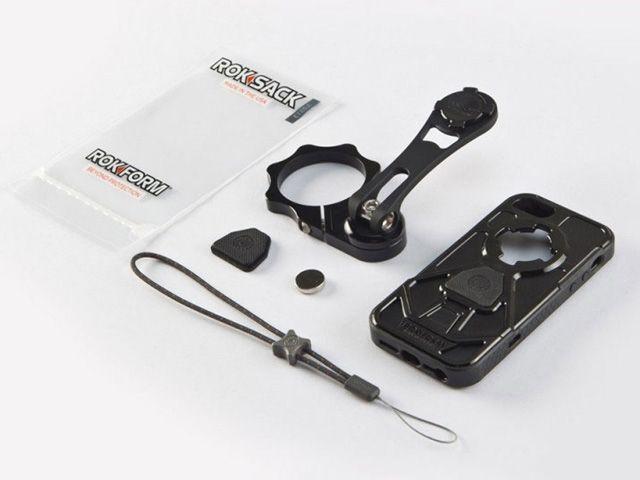 送料無料 Rokform ロックフォーム ツーリングギア・その他ツーリング用品 バイクマウント V.3モトマウント 50mm フォーククランプタイプ(iPhone5/5S V.3ケース付属) アクア&ホワイト