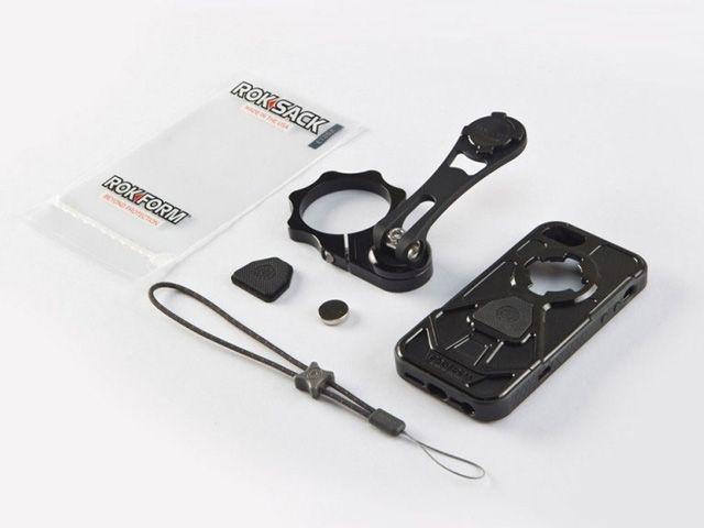 送料無料 Rokform ロックフォーム ツーリングギア・その他ツーリング用品 バイクマウント V.3モトマウント 53mm フォーククランプタイプ(iPhone5/5S V.3ケース付属) ブラック&ガンメタル