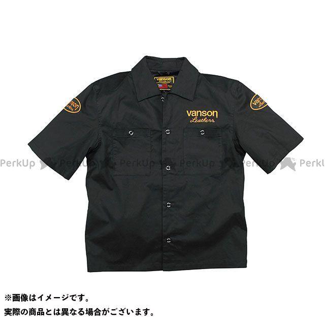 VANSON 2020春夏モデル VS20109S ワークシャツ(ブラック/イエロー) L バンソン