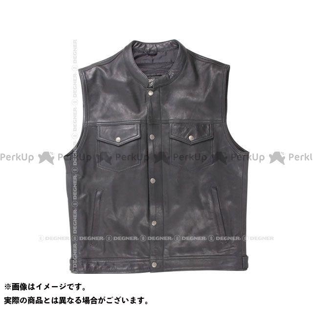 【無料雑誌付き】デグナー V-16 レザーベスト(ブラック) サイズ:XL DEGNER