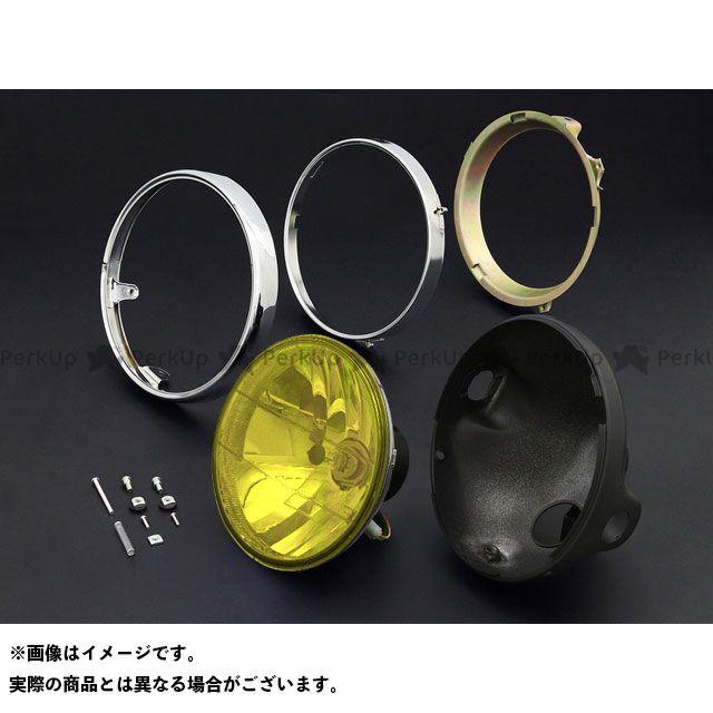 ブライテック カワサキ汎用 ヘッドランプ ラウンドタイプ リム付 旧カワサキ系 タイプ:ブラックケース カラー:イエロー Brightec
