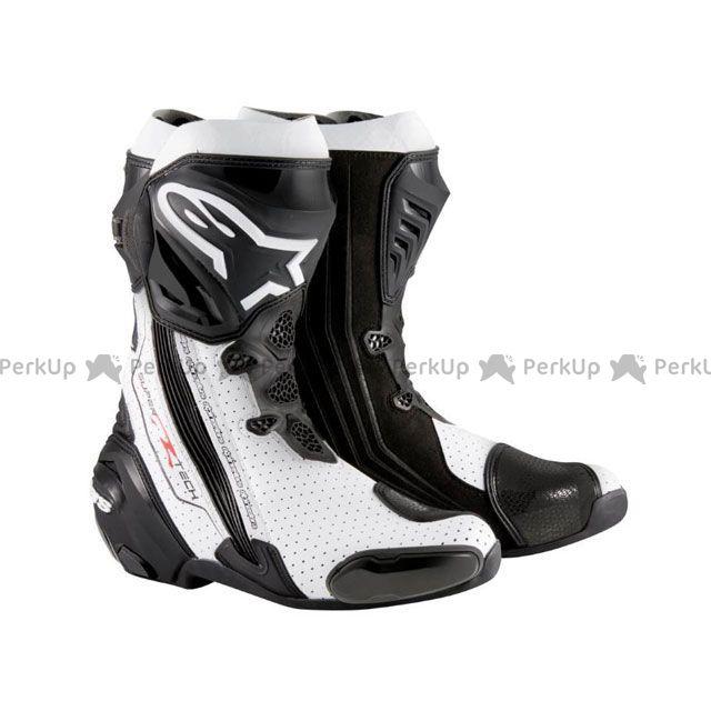 送料無料 Alpinestars アルパインスターズ レーシングブーツ スーパーテックR ブーツ ブラック/ホワイト ベンテッド 43