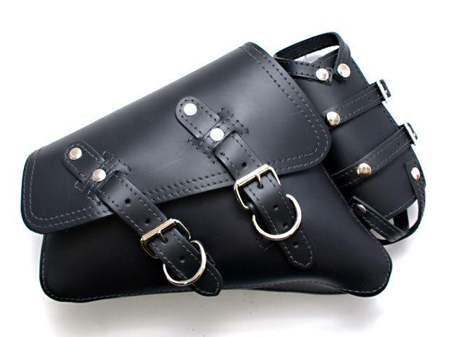 LaRosa Design スポーツスターファミリー汎用 ツーリング用バッグ スイングアームバッグ(本革) ブラック ボトルホルダー付