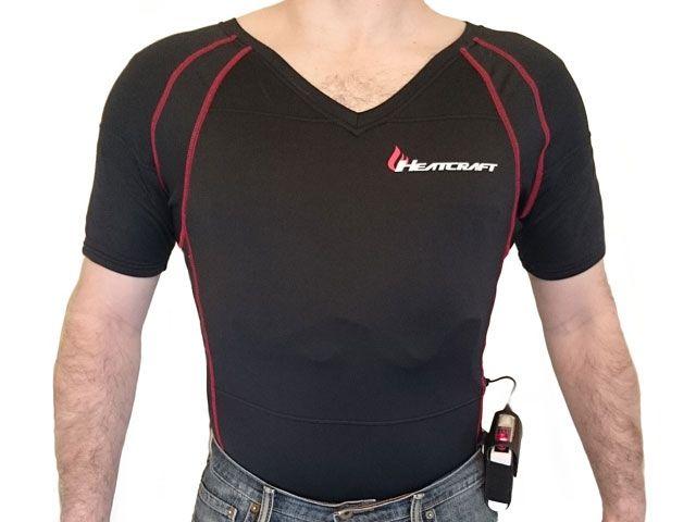 送料無料 Warm&Safe ウォームアンドセーフ 電熱ウェア・防寒用品 男女兼用 半袖Vネックシャツセット XL