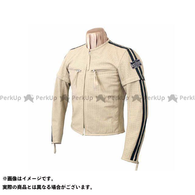 KADOYA K'S LEATHER No.1154 SELECT SLEEVER-PL レザージャケット アイボリー×ブラック LL カドヤ