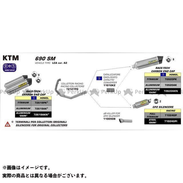 当店一番人気 アロー ARROW インナーサイレンサー マフラー 無料雑誌付き KTM 690 SM 06 12 HOMOLOGATED ALUMINIUM FOR RACE-TECH RH CARBON 商品 AR… DARK SILENCER WITH CAP 72620AKN END COLLECTORS