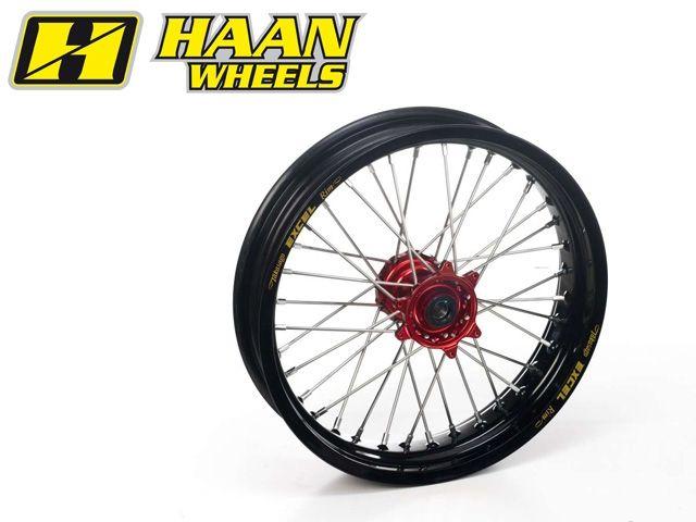 ハーンホイール HAAN WHEELS ホイール本体 Fモタードコンプリートホイール F3.50/16.5インチ レッド ブラック