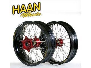 ハーンホイール HAAN WHEELS ホイール本体 F&Rモタードコンプリートホイール F3.50/16.5インチ R:5.50/17インチ ブラック イエロー