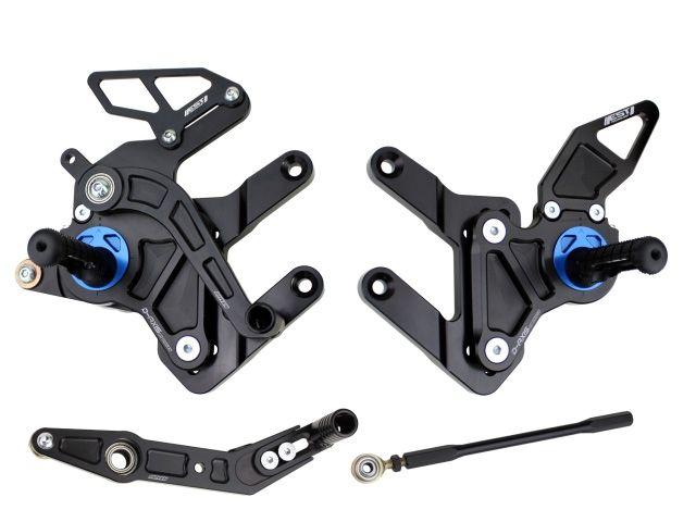 ドリブン GSX-R600 GSX-R750 バックステップ関連パーツ D-Axis バックステップ Suzuki GSX R600/750 2011-2012(ステップタイプ:ストリート、エキセントリックカラー:レッド) GPスタイル シルバー
