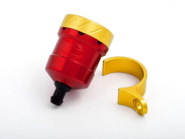 送料無料 エボテック 汎用 ラジエター関連パーツ フルードリザーバータンク 15cc ストレート レッド ゴールド レッド