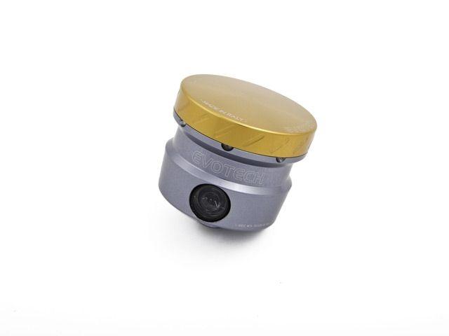送料無料 エボテック 汎用 ラジエター関連パーツ フルードリザーバータンク 30cc L90° チタニウム ゴールド