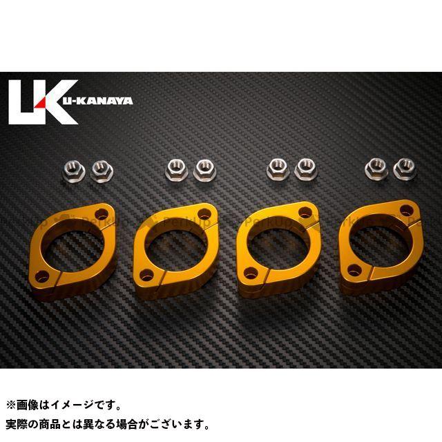 ユーカナヤ GPZ750 GPz750F アルミ削り出しエキゾーストフランジ カラー:ゴールド U-KANAYA