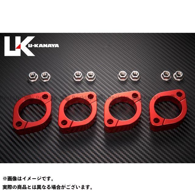 ユーカナヤ Z750フォア Z750FX アルミ削り出しエキゾーストフランジ カラー:レッド U-KANAYA