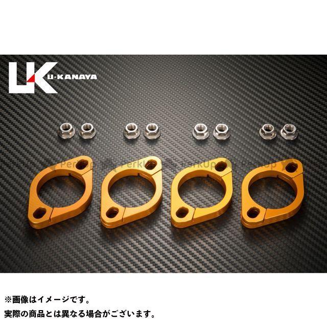 ユーカナヤ ニンジャZX-10 アルミ削り出しエキゾーストフランジ(ゴールド) U-KANAYA