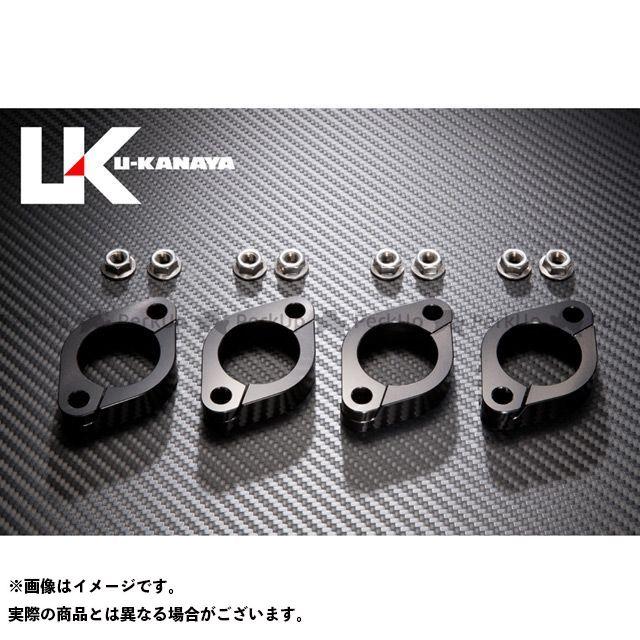 ユーカナヤ ZRX400 ZRX400- 高精度アルミ削り出しビレットエキゾーストフランジ カラー:ブラック U-KANAYA