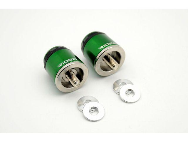 送料無料 リデア ZRX1200ダエグ ZRX1200R ZRX1200S ハンドル関連パーツ KAWASAKI ZRX1200 R/S/DAEG 01-14用 RIDEA SPINNER ハンドルバーエンド ミドルタイプ グリーン