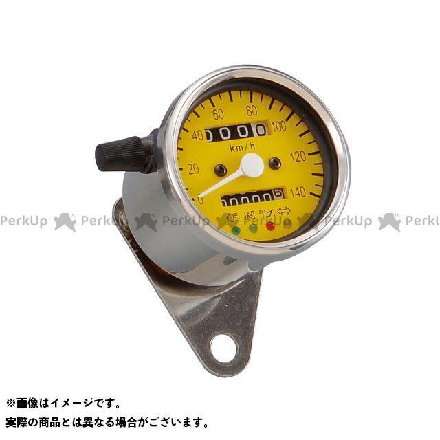 送料無料 ポッシュフェイス 汎用 スピードメーター LEDバックライト4インジケーターミニメーター(機械式) イエローパネル