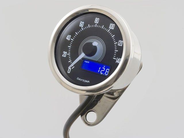送料無料 デイトナ 汎用 スピードメーター VELONA 電気式スピードメーター 140km/h ホワイトLED バフボディ