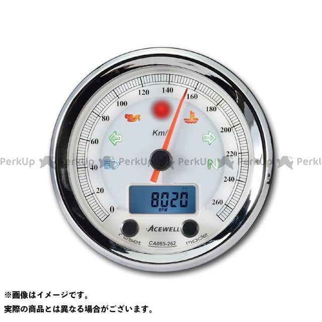 エースウェル 汎用 CA085-152 多機能デジタルメーター 150Km/H カラー:ホワイトパネル ACE WELL