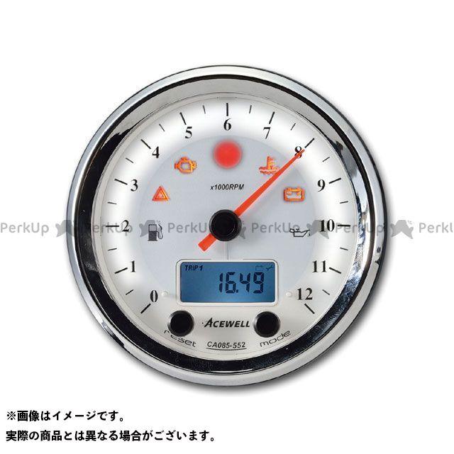 送料無料 エースウェル 汎用 スピードメーター CA085-652 多機能デジタルメーター 15000rpm ホワイトパネル