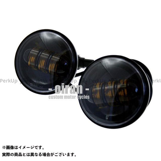 オールインレイン ハーレー汎用 ヘッドライト・バルブ 4.5インチ LEDフォグライト ブラック 30W イエロー光