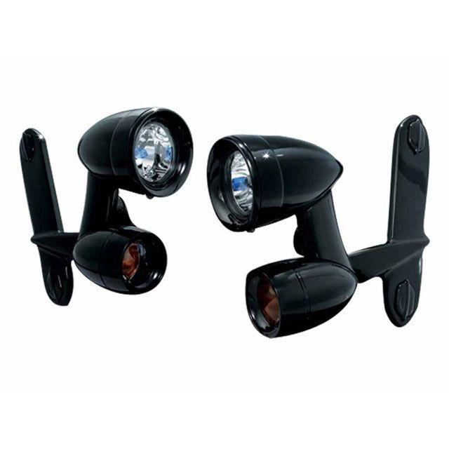送料無料 クリアキン FLHR ロードキング FLHT エレクトラグライド FLHX ストリートグライド ヘッドライト・バルブ LEDドライビングライト+ウインカー(光沢ブラック)