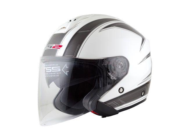 送料無料 LS2 HELMETS エルエスツー ジェットヘルメット LS2 FREEWAY(フリーウェイ) グラフィックモデル エスプリ ホワイト M/57-58cm
