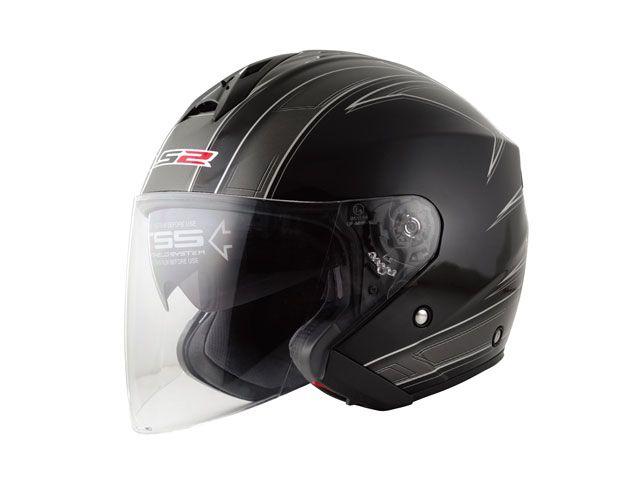 送料無料 LS2 HELMETS エルエスツー ジェットヘルメット LS2 FREEWAY(フリーウェイ) グラフィックモデル エスプリ ブラック S/55-56cm
