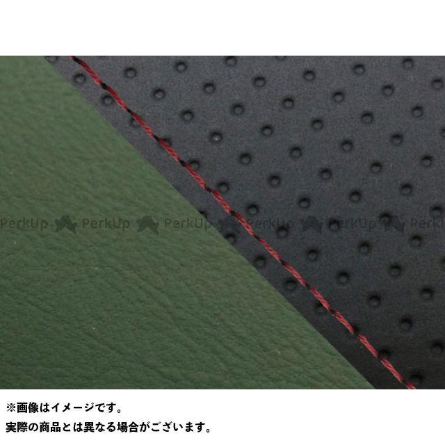 グロンドマン MT-09 MT-09/FZ-09 国産シートカバー エンボス黒&ダークグリーン タイプ:張替 仕様:赤ステッチ Grondement