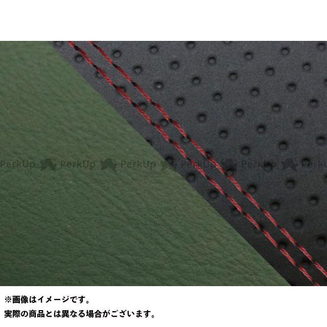 グロンドマン MT-09 MT-09/FZ-09 国産シートカバー エンボス黒&ダークグリーン タイプ:張替 仕様:赤ダブルステッチ Grondement