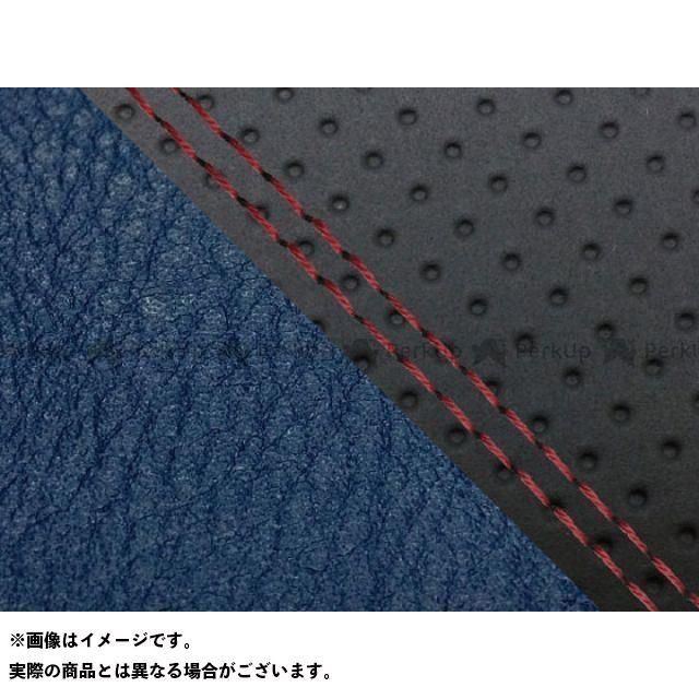 グロンドマン MT-09 MT-09/FZ-09 国産シートカバー エンボス黒&ネイビー タイプ:張替 仕様:赤ダブルステッチ Grondement