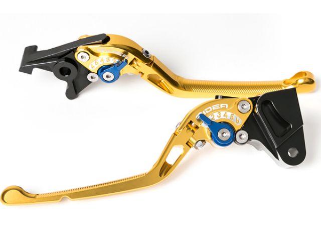 送料無料 リデア ニンジャZX-9R レバー 可倒式アジャストレバー ブレーキ&クラッチセット ゴールド ブルー