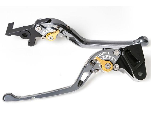 送料無料 リデア ZZR400 ZZR600 レバー 可倒式アジャストレバー ブレーキ&クラッチセット チタン ゴールド