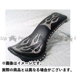 アメリカンドリームス Vツインマグナ シート関連パーツ コブラシート ファイヤーパターン(白蛇柄) 黒レザー スタッド無